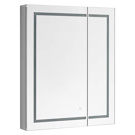 "Wrightsville 30"" x 36"" Recessed or Surface Mount Frameless Medicine Cabinet with 4 Adjustable Shelves and LED Lightin by"