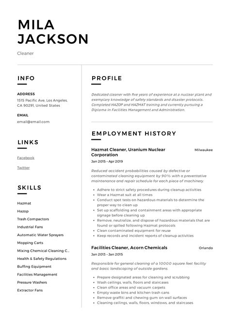 write cv cleaning job cleaner cv sample cleaning of working surfaces and other