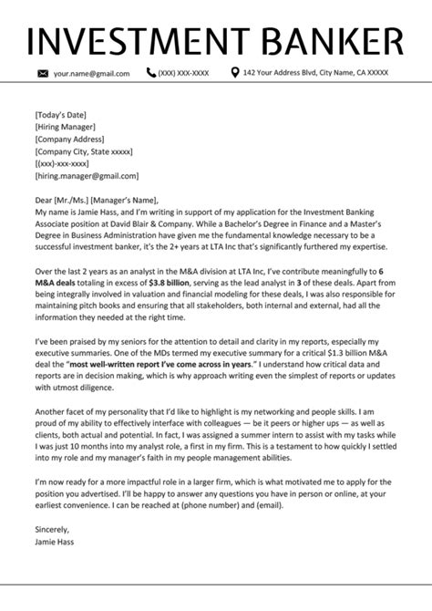 Writing A Cover Letter Banking - Cover letter banking