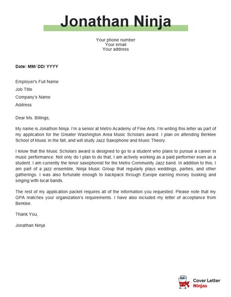 Persuasive Cover Letter Format Writing An Effective Scholarship Examples