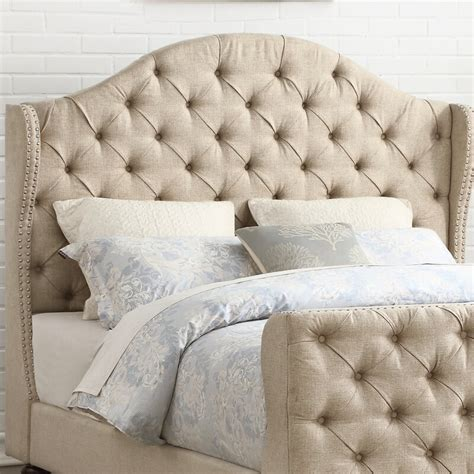 Wydmire Button Tufted Linen Upholstered Wingback Headboard