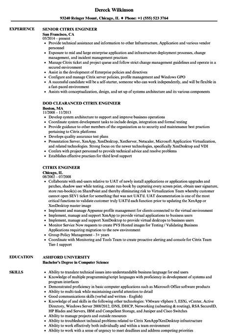 xendesktop sample resume citrix engineer resume samples jobhero - Citrix Administration Sample Resume