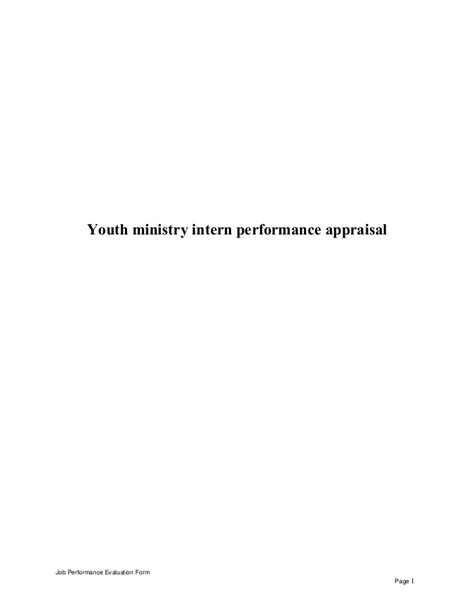 Youth Pastor Performance Evaluation Form Church Employee Evaluation Template Freechurchforms