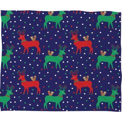 Zoe Wodarz Geo Pop Deer Blue Plush Fleece Throw Blanke by