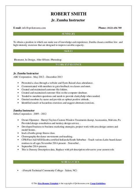 Zumba Resume Format Zumba Instructor Resume Example Best Sample Resume