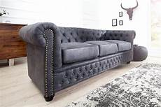 chesterfield sofa grau chesterfield 3er sofa 200cm antik grau mit knopfheftung