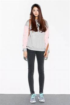 casual street style hoody with skinny jeans and sneakers