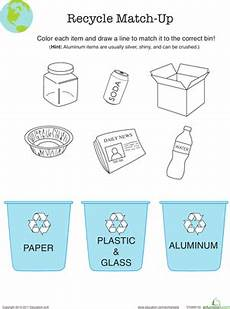 recycling worksheet education com