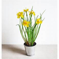 pot de fleur jaune bouquet jonquilles artificielles h23cm mini fleurs jaunes