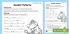 ks1 number patterns worksheet primary resources