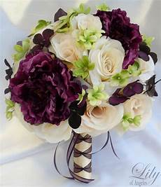 17pc wedding bridal bouquet decoration package flower plum