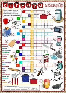 kitchen utensils crossword interactive worksheet