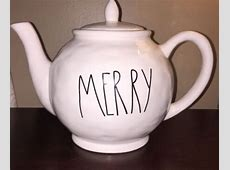 Rae Dunn Magenta TEA POT MERRY very Rare Christmas