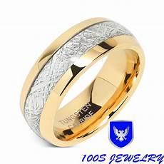 8mm mens womens tungsten carbide ring meteorite inlay wedding band size 5 16 ebay