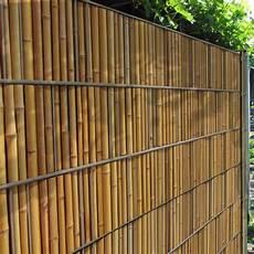 sichtschutz zaunstreifen mit bambuszaun motiv zum einflechten