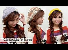cute fall winter hairstyles for beanies l quick easy hairstyles for medium hair youtube