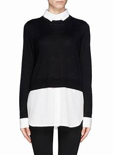 blouse and sweater combo sandro seul combo shirt sweater in black lyst
