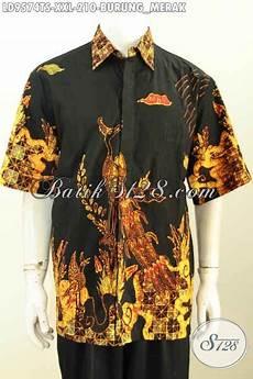 baju batik kwalitas premium hem batik elegan lengan pendek tulis soga motif burung merak