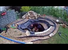 Teich Selber Bauen - gartenteich mit bach wasserfall anlegen bauen hd
