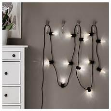 svartr 197 led string light with 12 lights black outdoor ikea