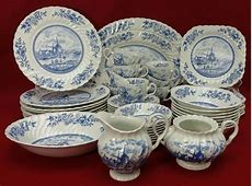 JOHNSON BROTHERS china TULIP TIME BLUE England 53 piece