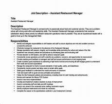 Kitchen Manager Description Pdf by Restaurant Manager Description Template 12 Free