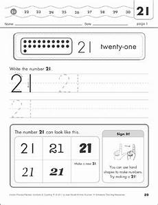 the number twenty one 21 numbers counting practice packet printable skills sheets