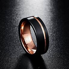 black and rose gold tungsten mens wedding bands 8mm