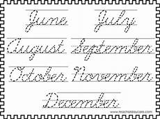 2 cursive trace the months of the year worksheets kdg 2nd grade handwriting