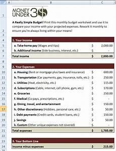 simple budget worksheet money 30
