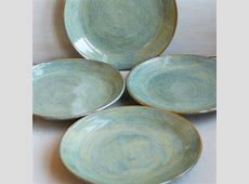 Ceramic Dinner Plates Rustic Green Plates Handmade by