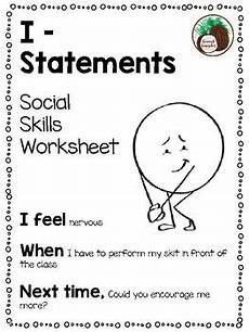 i statement social skills worksheet by coconut counselor tpt