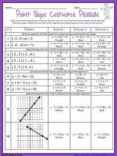 algebra worksheets point slope form 8541 writing equations in point slope form coloring worksheet algebra activities math notebooks