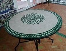 Marokkanischer Mosaiktisch Rund 100 Cm Handarbeit