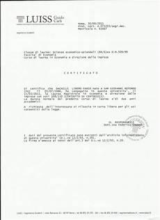 laurea lettere moderne certificato laurea luiss