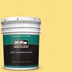 behr premium plus 5 gal 380b 4 daffodil yellow gloss enamel exterior paint and primer in