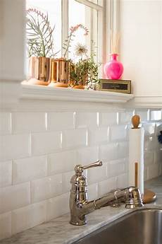 White Tile Backsplash Kitchen White Glam Azulejo Biselado