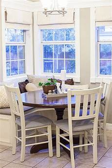 dear lillie bench light fixture and molding around windows great ideas for breakfast nook