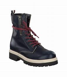 hilfiger boots aus leder 677366 dunkelblau im