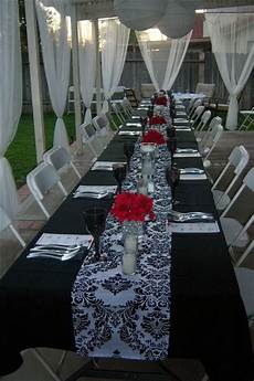 bridal shower black white damask and red florals