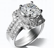 3 carat gold 14k three rings combine cushion cut fine