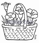 Free Drawing Of A Flower Basket BW From The Category
