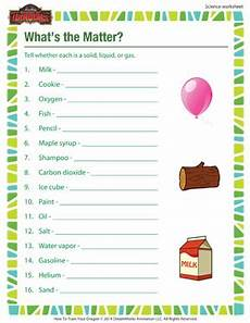what s the matter 3rd grade science worksheet school