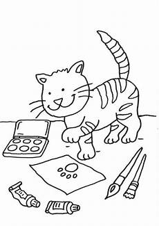 Schule Und Familie De Ausmalbilder Kostenlose Malvorlage Katzen Katze Auf Dem Schreibtisch