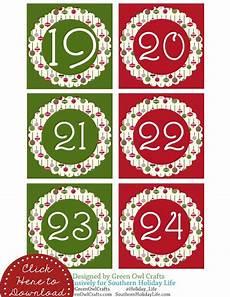 Free Printable Advent Calendar Numbers 1 24 Green Owl