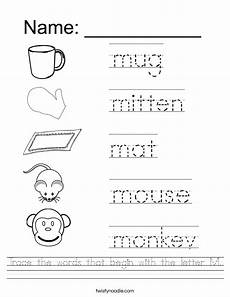 letter m handwriting worksheets 24300 trace the words that begin with the letter m worksheet twisty noodle