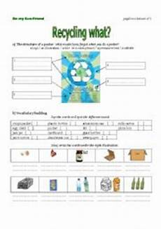 the first worksheet from a lesson plan recycling using
