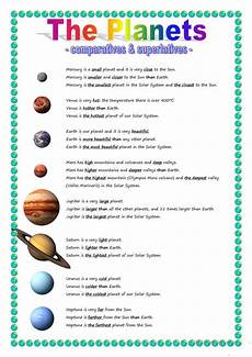 the planets comparative superlative english esl worksheets