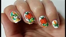 easy thanksgiving pumpkin nail art design youtube