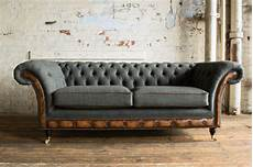 Modern Grey Wool Antique Leather 3 Seater